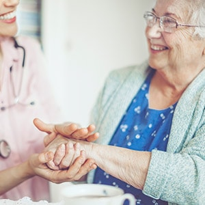 Senior health care doctor's visit at ANOVA Family Health in Watford City ND